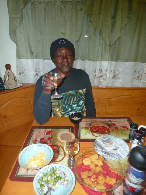Dother Sykes toasts to another great night and meal at Bob's