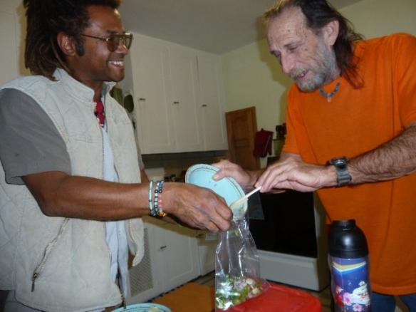 Matt and Bob tidy up after fish tacos