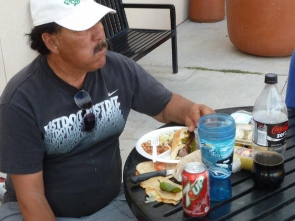 Camp Resident, Martin, enjoys a full plate!