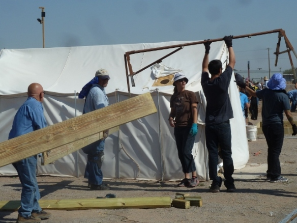 helping residents move tents